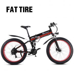 Bici de montaña con neumáticos gordos